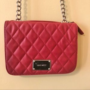 Nine West red quilted purse